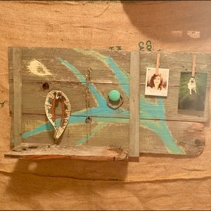 Reclaimed wood, wall hanger, shelf.